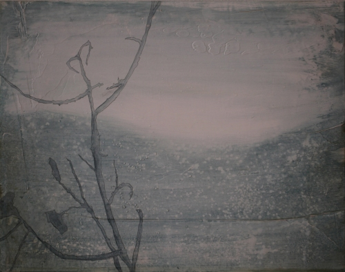 """Acrylic, Plaster & Watercolor on Panel 14"""" W x 11"""" H 2012"""